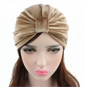 DCCKU62 New Arrival women hats velvet turban caps dome caps head wrap Europe style india hats women beanies skullies for fall and spring