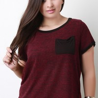 Soft Knit Contrast Pocket Short Sleeves Top