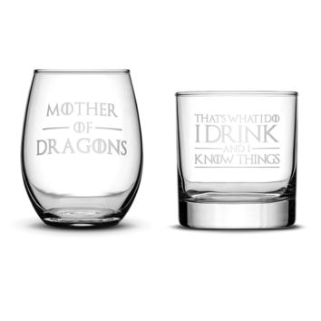 Premium Wine Glass (Mother of Dragons), Whiskey Glass (I Drink and I Know Things), Set of 2