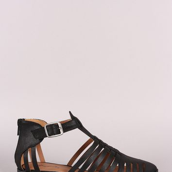 Qupid Caged Cutout Almond Toe Ankle Booties