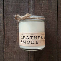 Leather and Smoke Wood Wick Candle