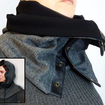 Multifunctional Gray and Black Adjustable Men Women Unisex soft WOOL Cozy Scarf Cowl Hood with leather snaps and cord.