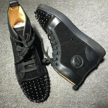 DCCK Cl Christian Louboutin Lou Spikes Style #2210 Sneakers Fashion Shoes