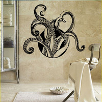Octopus Wall Decal Sticker Animals Tentacles Bathroom Decor Vinyl Sea Ocean SM68