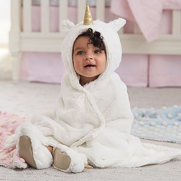 Nursery Fur Unicorn Bath Wrap | Pottery Barn Kids