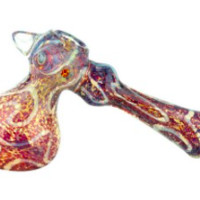 Nepal Glass - Full Frit Bubbler with Fumed Lines & Clear Spikes