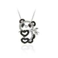 Sterling Silver Black Diamond Accent Panda Bear Pendant