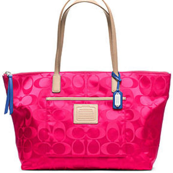 COACH LEGACY WEEKEND SIGNATURE NYLON EAST/WEST ZIP TOP TOTE - Coach Handbags - Handbags & Accessories - Macy's