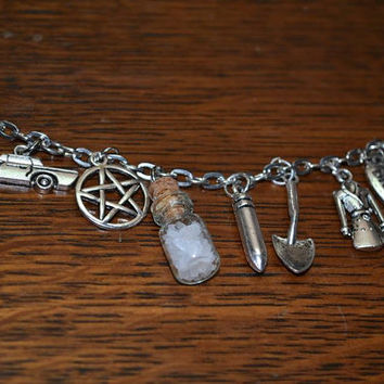 Supernatural related charm bracelet x9 or x15 charms