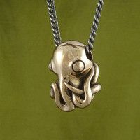 "Octopus Necklace Bronze Octopus Pendant on 24"" Gunmetal Chain - Octopus Jewelry"
