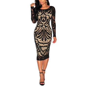 Casual Sexy Bodycon Dress Bandage Tank Evening Party Long Sleeve Lace Pencil Dress J4U66