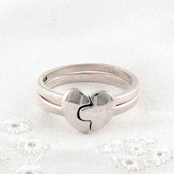 Matching Broken Heart Rings in Sterling Silver