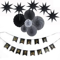 12pcs/set Paper Fan Wedding Decoration White and Black Theme Party Favor  For Home Birthday Party Decorations Kids