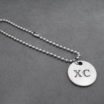 XC Round Pendant Ball Chain Bracelet - Pewter XC Charm on Stainless Steel Ball Chain Bracelet - The Run Home's XC Cross Country Charm - Run