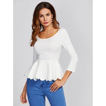 Scalloped Peplum Hem Top