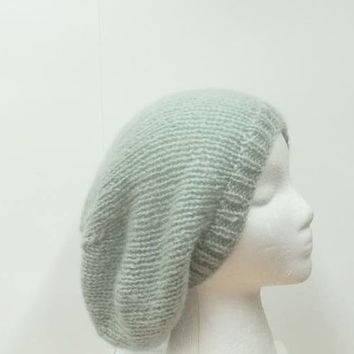 Handmade slouch beanie Mohair blend beret knit size large   5207