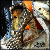 """Michael Myers """"Halloween"""" Studded Mirror Ankle Boots Heels"""