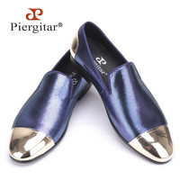 New style blue and red plaid sheepskin men's shoes with front and back metal toe Handmade Banquet and Prom men