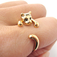 Realistic Kitty Cat Shaped Animal Wrap Around Ring in Shiny Gold   US Size 3 to Size 8.5