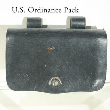 Ammo Pack, Ammo Pouch, Ordinace Pouch, Leather Pouch, US Military Collectible, Black Leather