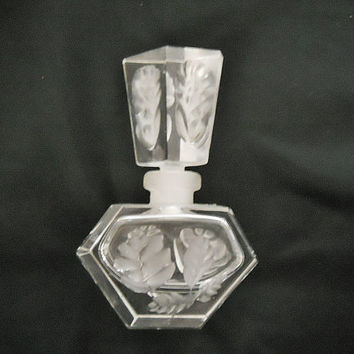 Vintage Crystal Perfume Bottle - Cut Crystal with Lalique Flowers