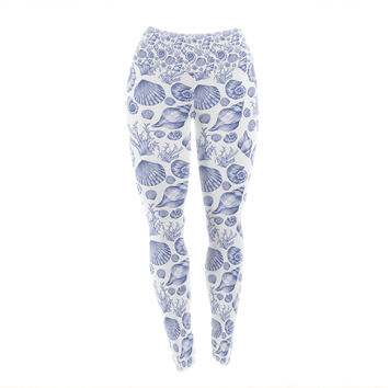 "Alisa Drukman ""Blue Seashells"" Coastal Abstract Yoga Leggings"