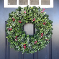 Christmas Wreath. Boxwood Wreath. Front Door Wreath. Winter Wreath. Holiday Wreath. Boxwood and Pine Wreath with Berries. Rustic Wreath
