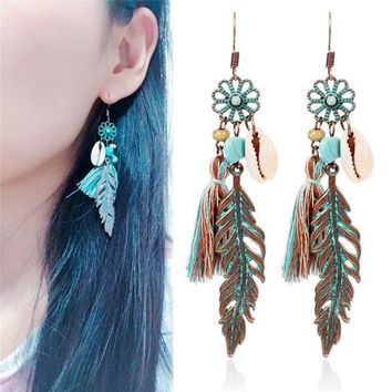 Womens Antique Feathers Theme Tassel Earrings
