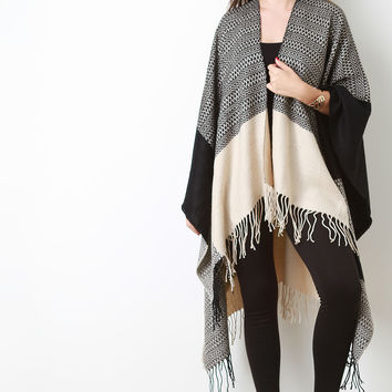Open Fringe Hem Color-blocked Poncho | UrbanOG