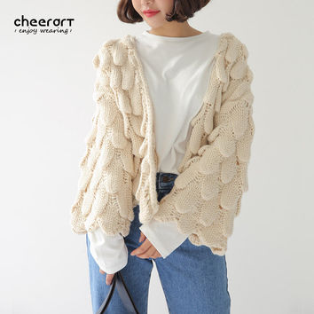 3D Weave Cardigan Women Long Sleeve Crochet Beige Open Chest Knitting Sweater Cardigan Korean Style Winter Clothes