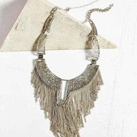Dripping Chains Plate Bib Necklace- Silver One