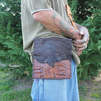 Python Snake Skin Utility Belt Bag, Single Pouch Loop Through Design, Distressed Brown Goat Leather