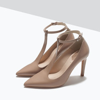 Leather t-bar court shoe