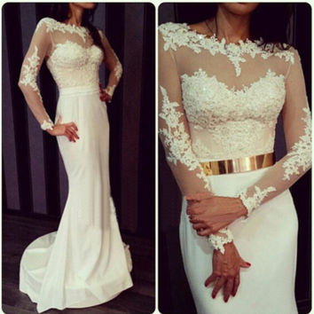 Long Sleeve Mermaid White Prom Dresses
