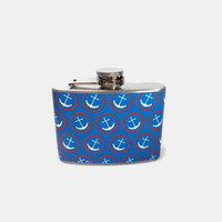 Stainless Steel Hip Flask with nautical blue and white anchor wrap - 4oz 6oz 2oz 1oz