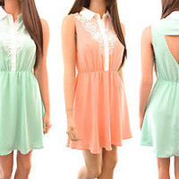NWT Peach & Mint Lace Chiffon Cute Collared Skater Summer Dress