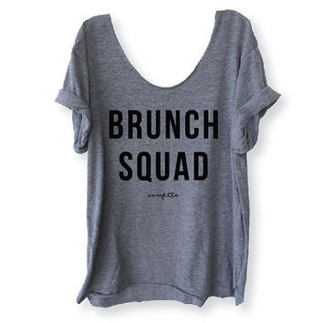BRUNCH SQUAD Off-Shoulder, Triblend, Raw Edge, Swanky Tee, Funny Graphic Tee, Yoga Top, Mimosa - One Size