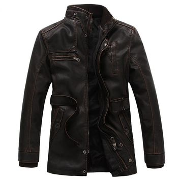 New Arrivals Winter PU Leather Jacket Men Jaqueta Couro Masculino Bomber Leather Jacket Coat Motorcycle Jacket