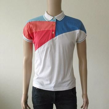 80s Color Block Top Polo Tennis Shirt White Pink Blue Preppy Neon 1980s Collared Shirt