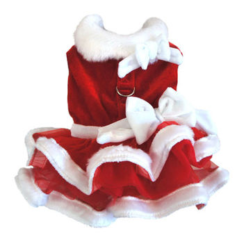 White Christmas Santa Girl Dog Harness Dress