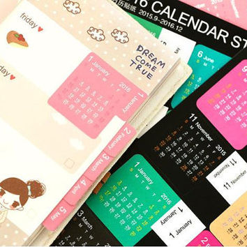 2016 Calendar sticker 2015-2016 monthly label diary planner label schedule planner sticker Year planner index planner monthly planner label