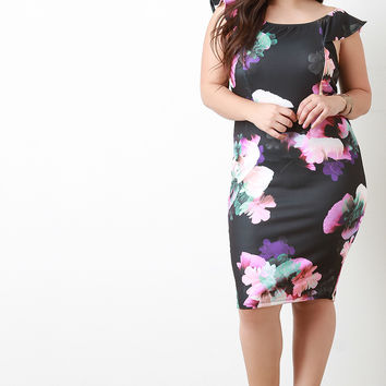 Flutter Sleeves Floral Bodycon Dress