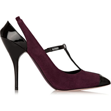 Oscar de la Renta - Fedra patent leather-trimmed suede pumps