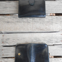 Vintage Black COACH Leather Bifold Wallet with Kiss Lock Coin Pocket