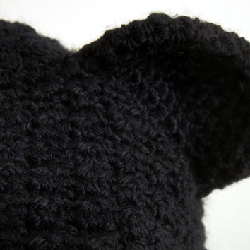 Hand Crocheted Black Bear Hat for Adult, Teddy Bear Beanie, Women Hat, Crochet Hat, Slouchy Beanie, Winter Accessories, Zilly Planet