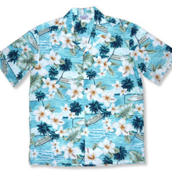 cruise aqua hawaiian cotton shirt