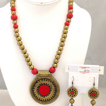 Terracotta Trendy Long Necklace and Jhumka Earring Set
