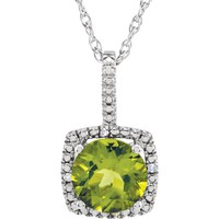 "Sterling Silver 7mm Peridot & .015 CTW Diamond 18"" Halo-Style Necklace"
