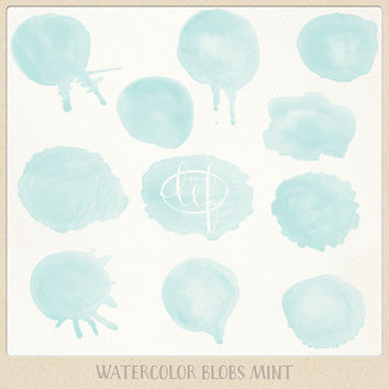 Watercolor clipart circles blobs mint hand painted teal for logo design, digital scrapbooking, making cards, printables, wall art etc.