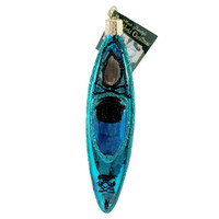 Old World Christmas Kayak Blue Glass Ornament
